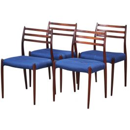 Mid-Century Rosewood Model 78 Dining Chairs by Niels Otto Møller, 1960s, Set of 4
