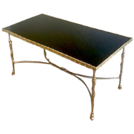 SILVER COFFEE TABLE WITH HORSEFEET & BLACK TOP