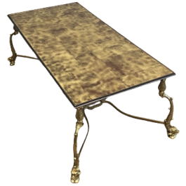 RARE DOLFINS NEOCLASSICAL BRASS COFFEE TABLE