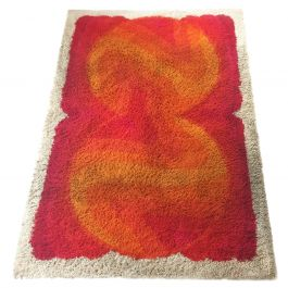Extra Large Vintage 1970s Modernist Multi-Color High Pile Rya Rug by Desso
