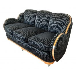 British Art Deco Cloud Back Sofa by Epstein in an Armani Style Fabric circa 1930