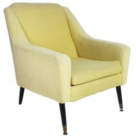 MARCO ZANUSO STYLE 1950S ITALIAN ARMCHAIR IN LIGHT OLIVE GREEN