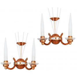 Pair of Art Deco Wall Light Sconce Appliques Attributed to Atelier Petitot