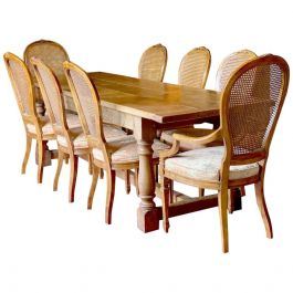 Oak Refectory Table and Eight Cane Back Dining Chairs Set 3