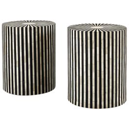 A pair of horn and ebonised side tables / stools