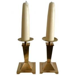 Pair of Tapered Square Shaped 1950's Brass Candleholders