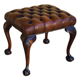 Antique Queen Anne Style Leather Foot Stool