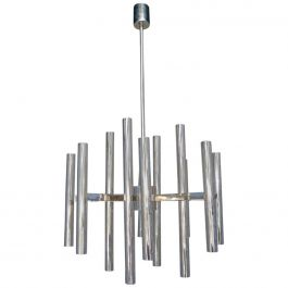 Large Italian Chrome Sciolari Chandelier