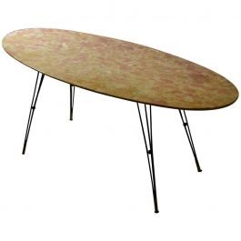 1950s Italian Oval Marble Cocktail Table on Black Spider Legs