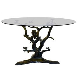 1970s Sculptural Brass Tree and Birds Coffee Table by Willy Daro