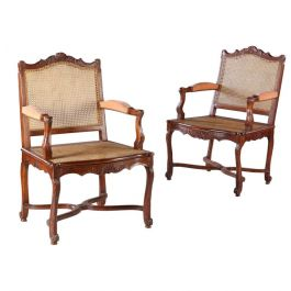 Pair of 1900 Walnut Caned Bergeres