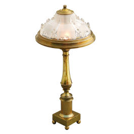 French Desk Lamp Ezan Style Glass And Brass C1910