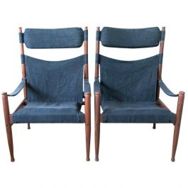 Safari Chairs by Erik Wørts for Niels Eilersen, Denmark, 1970s