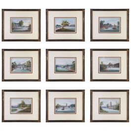 Set of Nine Chinese Export Gouache Paintings