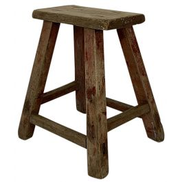 RUSTIC WOODEN STOOL W133