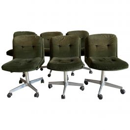 Mid-Century Modern Italian Set of 6 Chairs on Wheels, 1970s