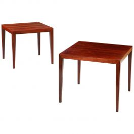Near Pair of Rosewood Tables Attributed to Severin Hansen