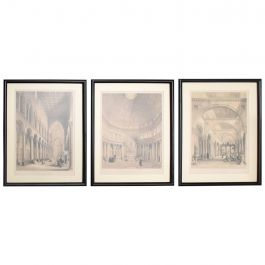 Set of Three Architectural Italian Etchings Framed