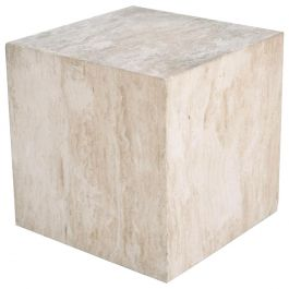 Mid-Century Modern Travertine Cube Side Table