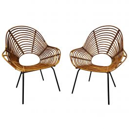Pair of Midcentury Rattan Chairs, 1960s, Netherlands