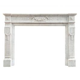Well Carved Antique French Louis XVI Style Marble Fireplace Mantel
