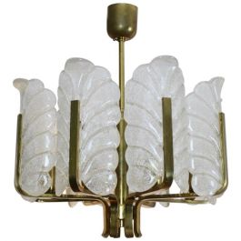 Carl Fagerlund Brass Chandelier with Eight Glass Leaves for Orrefors Sweden