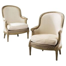 Pair of French Cream Painted Bergeres