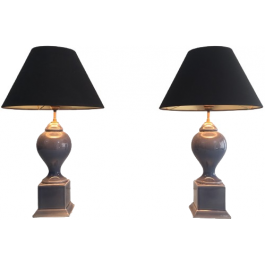 PAIR OF BLUE CERAMIC BALUSTER TABLE LAMPS