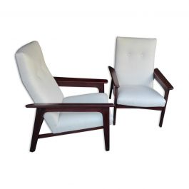 Pair of 1960s Italian White Armchairs