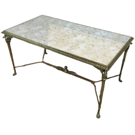 NEOCLASSICAL BRONZE AND BRASS COFFEE TABLE