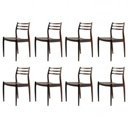 1950s Niels Moller Eight Model 78 Dining Chairs in Rosewood - Inc. Reupholstery