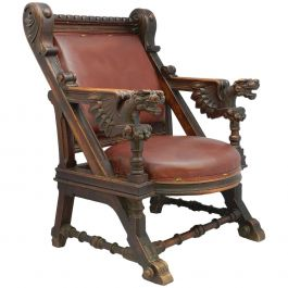 Throne Desk Chair 19th Century Renaissance Carved Dragons Spanish Leather