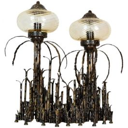 Brutalist Italian Wrought Iron Table Lamp by Vella