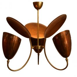 1950s Three-Arm with Reflector Chandelier in Perforated Copper and Brass