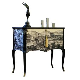 Gustavian Commode with 17th Century Style Print