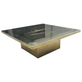 French Brass-Etched Coffee Table, 1970s