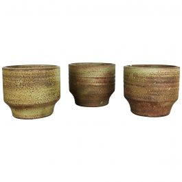Set of 3 Ceramic Studio Pottery Vase by Piet Knepper for Mobach Netherlands 1970