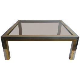 Chrome and Brass Frame Coffee Table