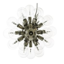 Nickel plated contemporary style chandelier with clear bulbs (52cm/ 20.5inches)