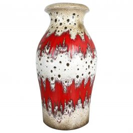 Large Pottery Fat Lava ZIG-ZAG Multi-Color 290-40 Vase Made by Scheurich, 1970s