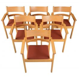 Set of Six Refinished Hans J. Wegner Armchairs in Beech, Choice of Upholstery