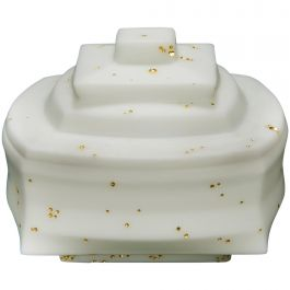 Daam Dah 8-1, a Unique White Glass Lidded Box with Gold Detail by Choi Keeryong