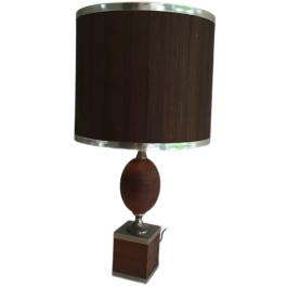 Wooden Egg And Shade Table Lamp With Chrome