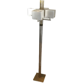 INTERESTING DESIGN BRASS FLOOR LAMP WITH WHITE PLA