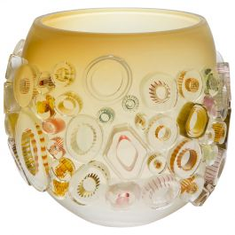 Common Ray Honey Caramel, a Unique Yellow Glass Centrepiece by Sabine Lintzen