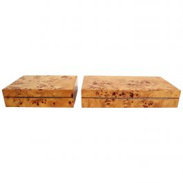 Burl Boxes by Tommaso Barbi, 1970s, Set of 2