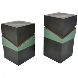 Pair of Sculptural Square Studio Pottery Boxes Glazed in Green and Black