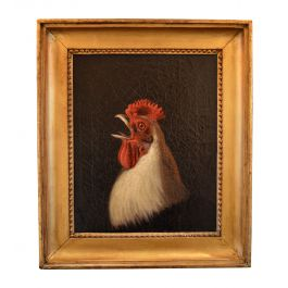 Oil Painting of a Crowing Ixworth Cockeral by George Cole