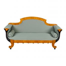 Swedish Biedermeier Sofa Empire Couch Honey Color, 2-3 Seat, 19th Century Ormolu