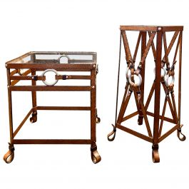 Set of Iron Leather Effect Side Tables in the Style of Hermès